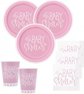 48 Teile Baby Shower Herzchen in Rosa Party Deko Set für 16 Personen