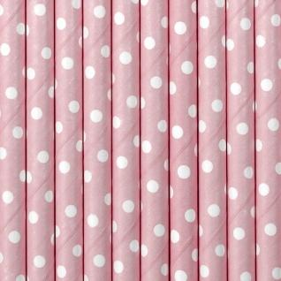 10 Papier Trinkhalme rosa weiß gepunktet