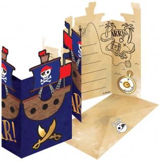 8 Einladungskarten Pirat Goldzahn