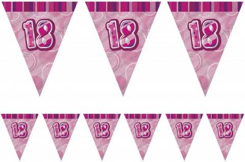 18. Geburtstag Wimpel Girlande Pink