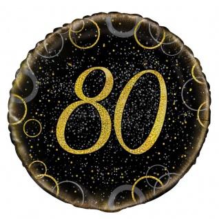 80. Geburtstag Folien Ballon Schwarz Gold
