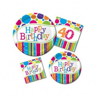 8 kleine Geburtstags Papp Teller bunte Punkte und Streifen - Vorschau 2
