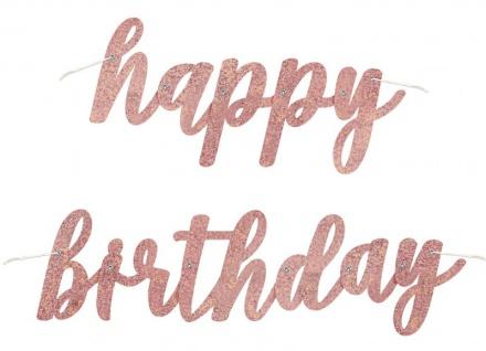 Geburtstags Buchstaben Girlande Urban Apricot Glitzer Happy Birthday