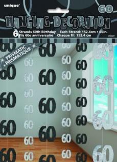 60. Geburtstag Glitzer Girlanden Schwarz
