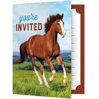 8 Einladungskarten Wilde Pferde