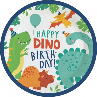 8 Papp Teller kleine Dino Freunde
