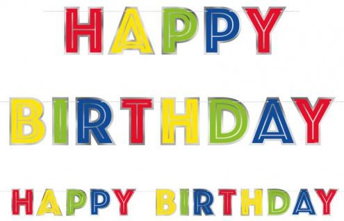 bunte Geburtstags Girlande Happy Birthday mit Silberrand
