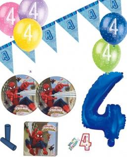 57 Teile 4. Geburtstag Spiderman Party Deko Set für 8 Kinder