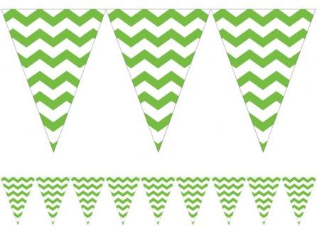 Wimpel Banner ZickZack Streifen Limonen Grün