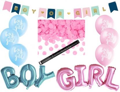 Junge oder Mädchen die Verkündung Baby Shower Gender Reveal Deko Set - Es ist ein Mädchen!