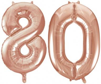Folien Ballon Zahl 80 in Rosegold - XXL Riesenzahl 86 cm zum 80. Geburtstag