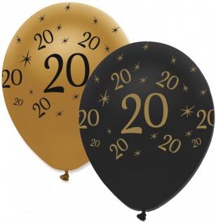 53 Teile Set zum 20. Geburtstag oder Jubiläum - Party Deko in Schwarz & Gold - Vorschau 4