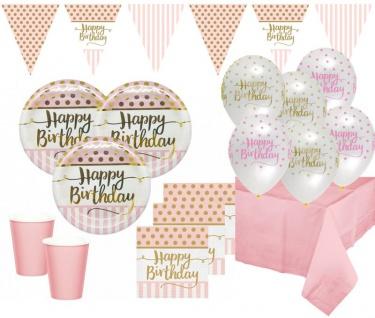 XL 44 Teile Pink Chic Party Deko Set Happy Birthday zum Geburtstag in Rosa und Gold Glanz für 8 Personen