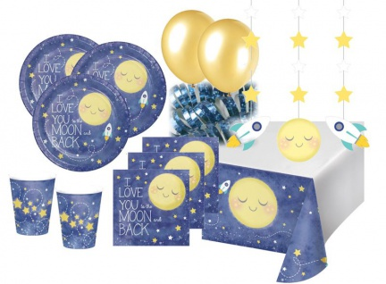 XXL 78 Teile I love you to the Moon and Back Party Deko Set 16 Personen für die Baby Shower oder Kindergeburtstag