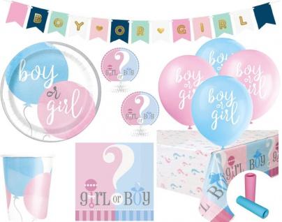XL 50 Teile Baby Junge oder Mädchen Reveal Baby Shower Party Set für 8 Personen