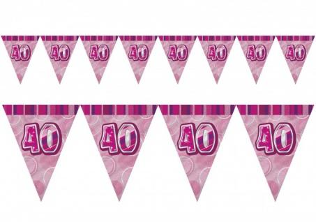 40. Geburtstag Wimpel Girlande Pink