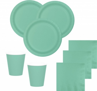 98 Teile Party Deko Set Mint für 24 Personen
