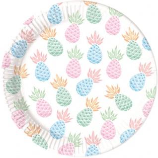8 Teller Ananas Pastell Farben Party