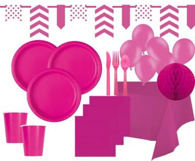 XXL 114 Teile Party Deko Set Neon Pink für 14 Personen
