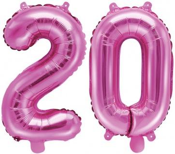 Folienballons Zahl 20 Pink Metallic 35 cm
