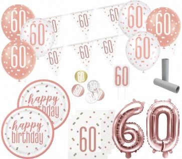 XL 36 Teile 60. Geburtstag Urban Apricot Party Deko Set 8 Personen