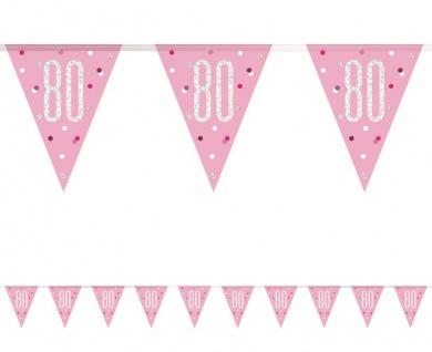 Wimpel Girlande Pink Dots Glitzer zum 80. Geburtstag