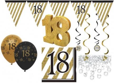 30 Teile Set zum 18. Geburtstag oder Jubiläum - Party Deko in Schwarz & Gold