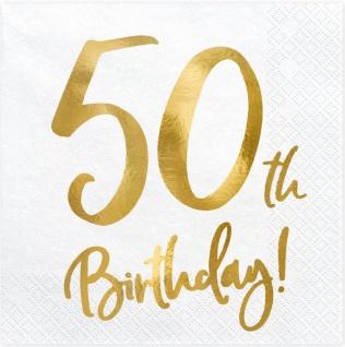 20 Servietten zum 50. Geburtstag in Weiß Gold foliert