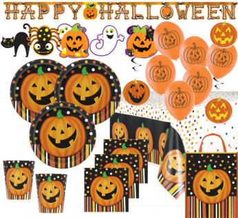 XXL 65 Teile Halloween Party Set Lachender Kürbis für 16 Kinder