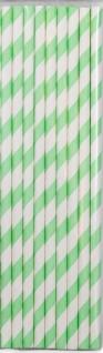 20 Papier Trinkhalme pastell grün und weiß gestreift