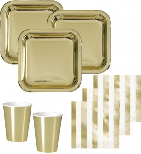 32 Teile Party Deko Set Gold Glanz für 8 Personen
