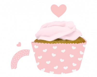 12 rosa Herzchen Muffin Wraps und Picks