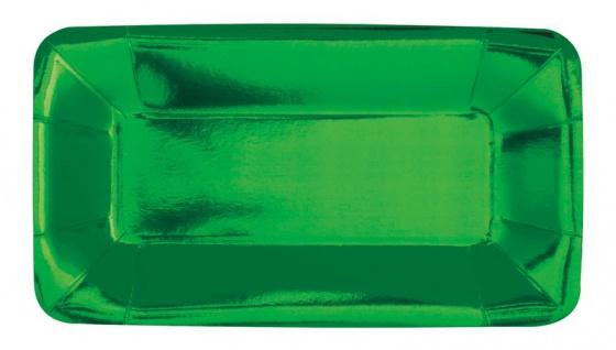 8 kleine längliche Appetizer Teller Hochglanz Grün