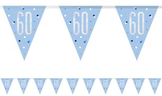 Wimpel Girlande Blue Dots Glitzer zum 60. Geburtstag