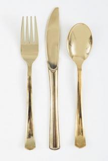 18 Teile Plastik Besteck Gold Hochglanz