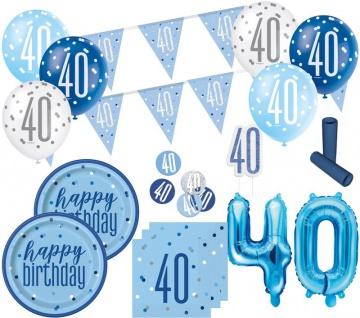XL 36 Teile 40. Geburtstag Blue Dots Party Set 8 Personen