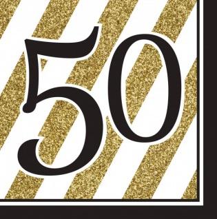 16 Servietten 50. Geburtstag Black and Gold