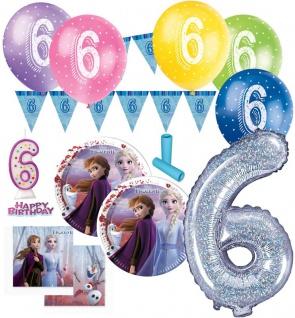 57 Teile 6. Geburtstag Die Eiskönigin 2 Party Deko Set für 8 Kinder