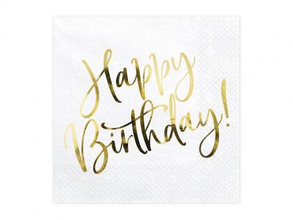 20 Geburtstags Servietten Gold Metallic bedruckt