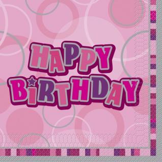 48 Teile Happy Birthday Geburtstag Party Set Pink 16 Personen - Vorschau 4