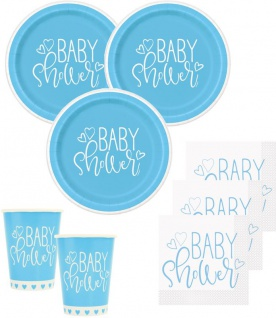 48 Teile Baby Shower Herzchen in Hellblau Party Deko Set für 16 Personen