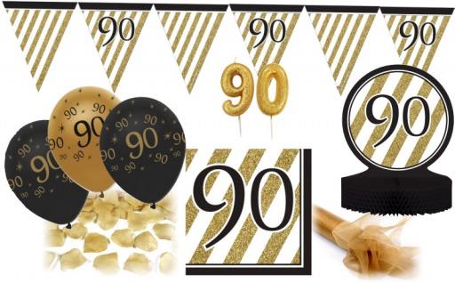 28 Teile Dekorations Set zum 90. Geburtstag oder Jubiläum - Party Deko in Schwarz & Gold