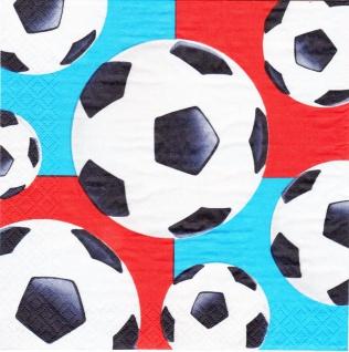 16 Servietten Fußball blau und rot