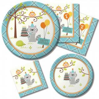 16 Servietten zum 1. Geburtstag kleiner Waschbär Blau - Vorschau 2