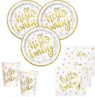 32 Teile Hello Baby Babyshower Party Deko Set Gold foliert für 8 Personen