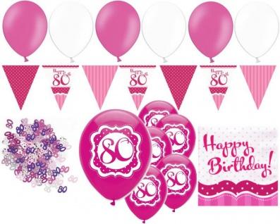 XL 32 Teile zum 80. Geburtstag Perfectly Pink für 18 Personen - Servietten