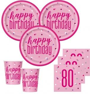 48 Teile 80. Geburtstag Pink Dots Party Set 16 Personen