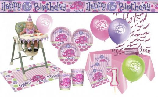 XXL Party Deko Set 1. Geburtstag Marienkäfer Rosa für 32 Personen
