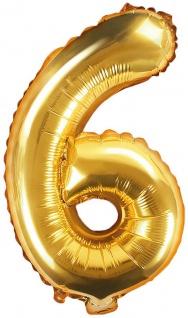 Folienballon Zahl 6 Gold Metallic 35 cm