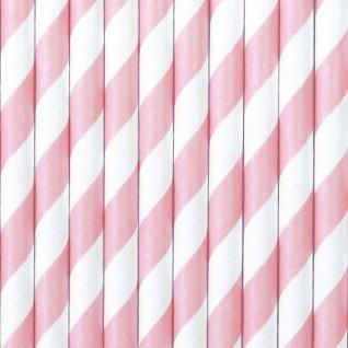 10 Papier Trinkhalme rosa weiß gestreift
